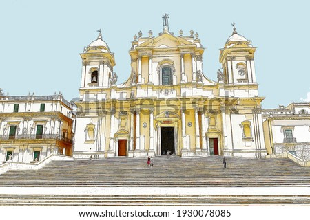 Color sketch of Noto cathedral in Sicily, Italy.