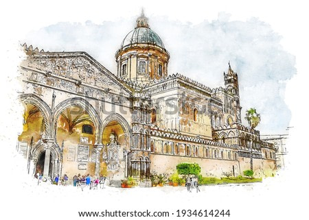 Palermo Cathedral. Metropolitan Cathedral of the Assumption of Virgin Mary in Sicily, Italy, watercolor sketch illustration.