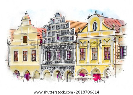 Traditional houses on the main square of Telc, Czech Republic, watercolor sketch illustration.
