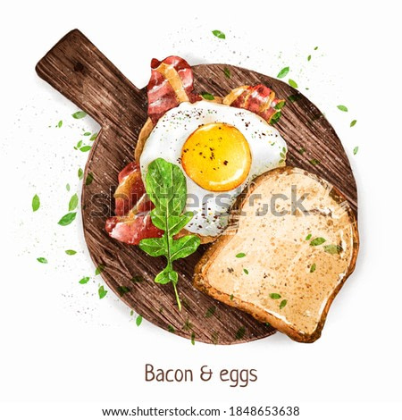Digital watercolor. Hearty breakfast - scrambled eggs with bacon and fresh toast. Delicious illustration for your menu.