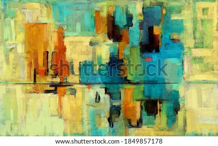 Colorful abstract oil painting. Vibrant rectangles, artwork in contemporary style. Textured brush strokes, modern art on teal and yellow background with dark accents