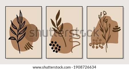 Set of creative minimalist hand drawn illustrations for wall decoration, postcard or brochure cover design. Hand draw vector design elements. Vector EPS10.