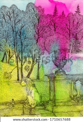 Pavlovsk. Staircase with lions. Bright watercolor and ink illustration. Cute illustration for the decor and design of posters, postcards, prints, stickers, invitations, textiles and stationery.