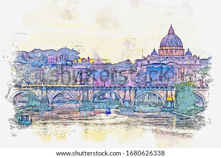 Watercolor drawing of St. Peter's cathedral with river in Rome, Italy