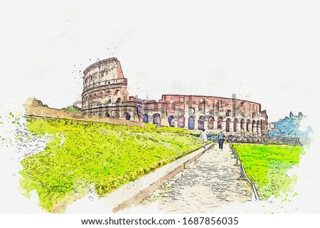 Watercolor painting of the Colosseum, Rome, Italy.