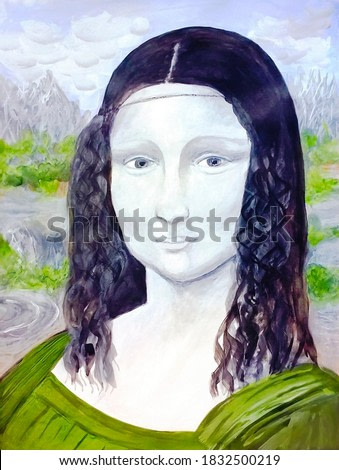 Reproduction of Mona Lisa (watercolor and gouache)