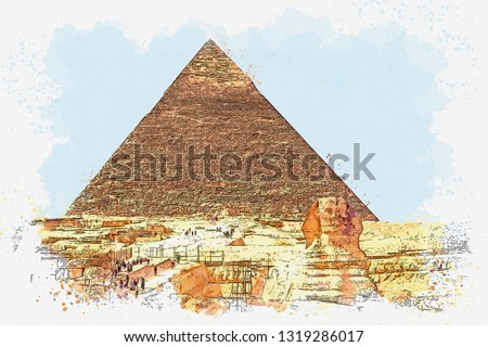 Watercolor sketch or illustration of a beautiful view of the ancient Egyptian pyramid of Cheops and Sphinx.