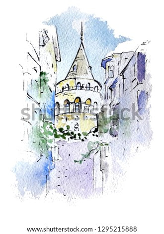 Watercolor sketch of Galata Tower, Istanbul, Turkey. Hand painted picture is perfect for print, poster, card making and travel design.