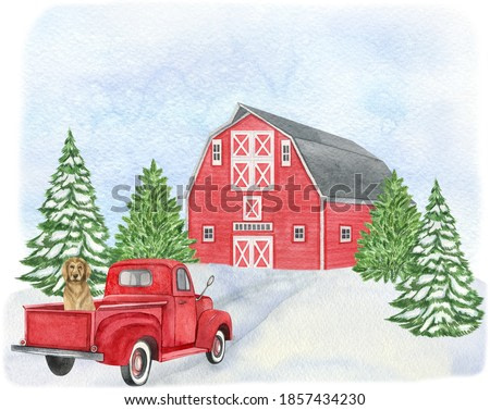 Watercolor winter landscape with red barn, tree, snow, red truck. Farmhouse illustration perfect for  Christmas and New Year project, invitations, greeting cards. Watercolor holiday illustration.