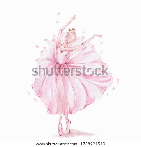 Pink pretty ballerina; watercolor hand draw illustration; can be used for cards or posters; with white isolated background