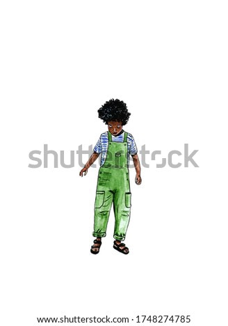 Watercolor illustration of african-american boy