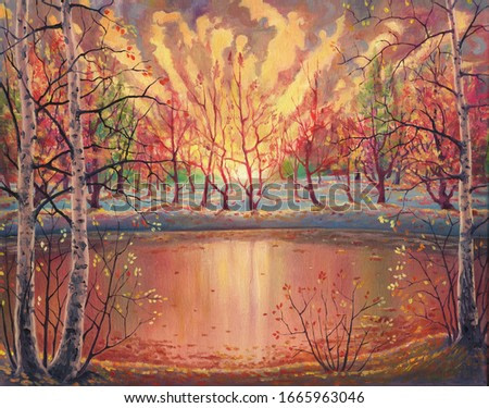 Oil painting sunset autumn landscape on canvas with nature, beautiful forest, golden foliage, crimson trees, sun light beams, water pond, hand drawn illustration with beautiful watercolor pastel color