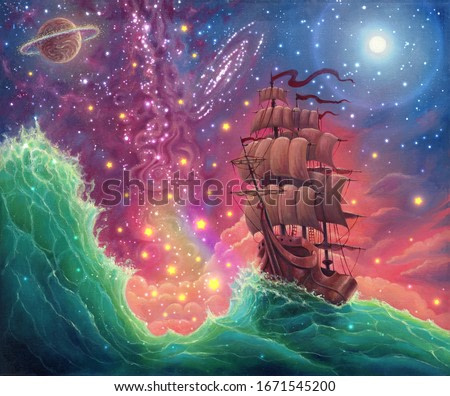 Fantasy oil painting sea landscape art with ship, sunset, space stars, planets, moon, hand drawn seascape illustration with oceanic waves and vessel by oil on canvas, dream with beautiful colors