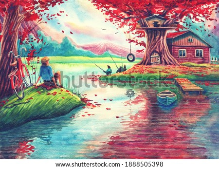 Watercolor fantasy landscape with autumn trees, lake, magic house, beautiful forest, hand drawn nature illustration painting with river water, fishing, outdoors relaxation art with nice colors.