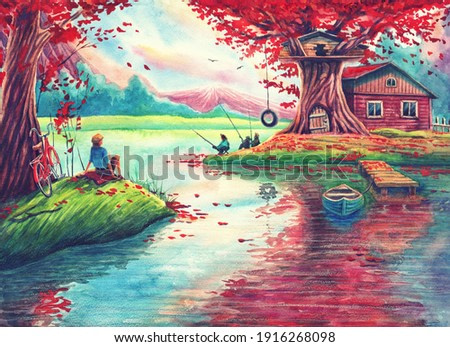 Magic watercolor landscape painting art with pink trees, lake, fishing lodge, fantasy forest, hand drawn nature illustration with river reflections, red bicycle and boat.