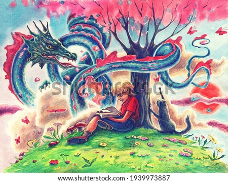 Watercolor painting art with fantasy Japanese dragon, reading boy and magic tree over clouds. Hand drawn comics illustration with fairy tale flying snake and dreaming child.