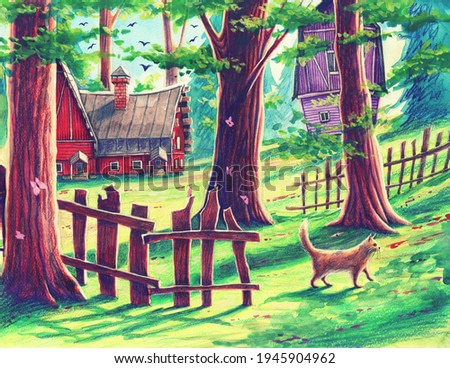 Magic forest landscape with fantasy houses, green trees, animals, cat  by watercolor and colorful pencils. Hand drawn nature illustration, outdoors garden painting art, beautiful park drawing.