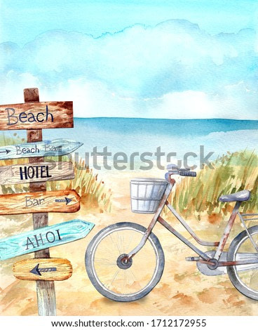 Information signpos, retro bicycle on the beach. Blue sky, nice weather. Happy holiday.  Stock illustration. Hand painted in watercolor.