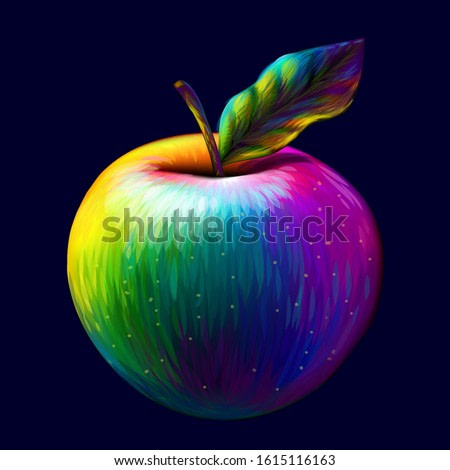 Apple. Abstract, multi-colored, pop-art image of an Apple.