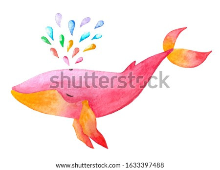 Cute hand drawn watercolor pink and yellow colored whale with rainbow fountain water drops.Hand painted illustration with whale isolated on white background.Kids products, print, fabrics, wallpapers.