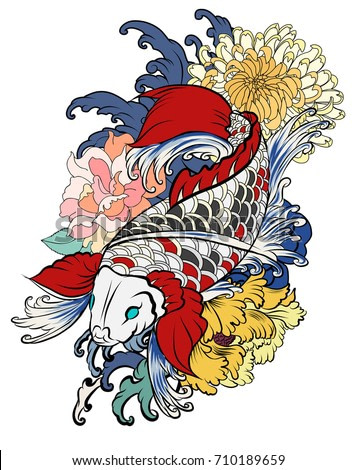 hand drawn koi fish with flower tattoo for Arm.Colorful Koi carp with Water splash,lotus and peony flower.Japanese tattoo and illustration for coloring book.Asian traditional tattoo design.