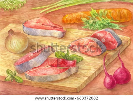 Still-life with watercolor. Cut red fish on a cutting board. Drawing from the hands of vegetables and pink salmon. Illustration for poster or background.