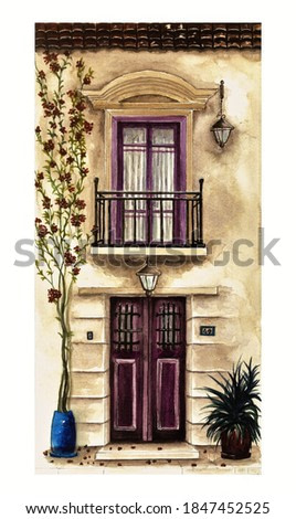 Water colour painting/ French balcony. Historical house detail. Water colour historical building painting. Entrance door, balcony. lamps, roof, window, plants in pots and fallen leaves. Autumn theme.