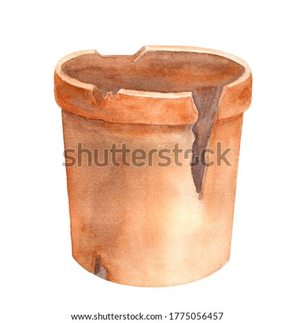 Watercolor old broken flower pot. Hand drawn illustration of empty vintage ceramic flowerpot isolated on white background for decoration, cards