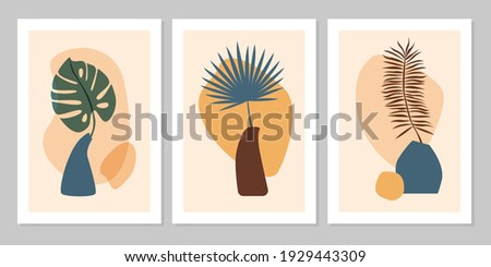 Hand drawn set abstract boho poster with tropical  leaf, color vase and shape isolated on beige background. Vector flat illustration. Design for pattern, logo, posters, invitation, greeting card