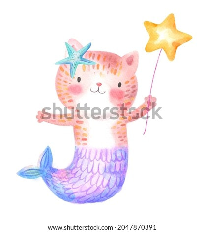 Funny cute cat mermaid watercolor hand drawn illustration. Smiling childish feline fish tail holding air balloon golden star isolated. Drawing magical kids nautical kitty pet sea life creature