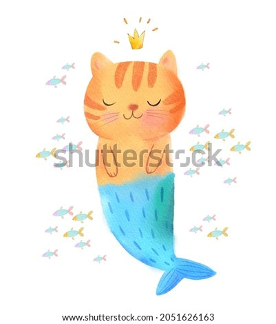 Cute childish mermaid cat in crown swimming surrounded fishes watercolor illustration. Adorable funny nautical kitty with fish tail closed eyes isolated on white. Fairy tale mythical creature