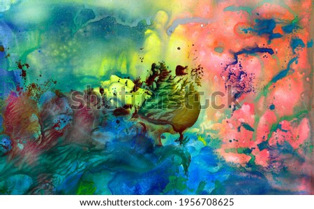 Watercolor background, abstract composition, expressionism, nautical theme. Modern art of modernism