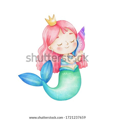 Watercolor illustration, cute little mermaid girl in a crown with a shell, isolated on white background. Cartoon style mermaid drawing with pink hair, blue-green tail. Watercolor paper texture.