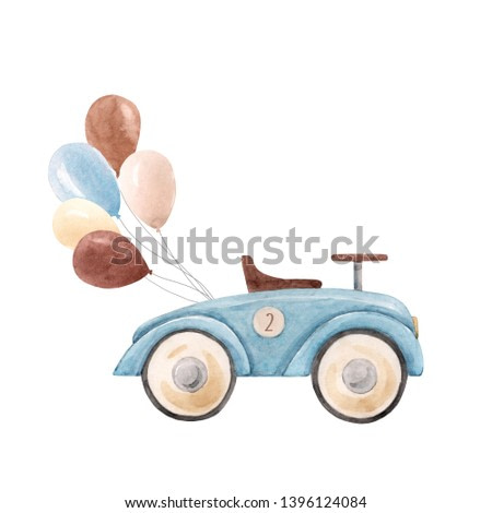 Watercolor illustration for a boy, blue retro car with balloon. Invitation Greeting Card