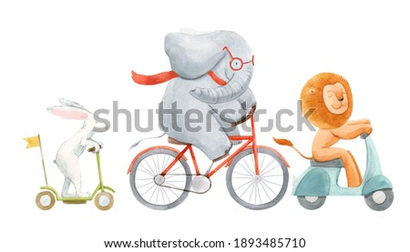 Beautiful stock illustration with watercolor hand drawn cute animals on transport. Lion with rabbit and elephant.