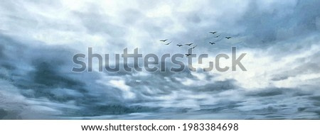 A flock of birds in the sky. Gray weather. Wide panoramic view