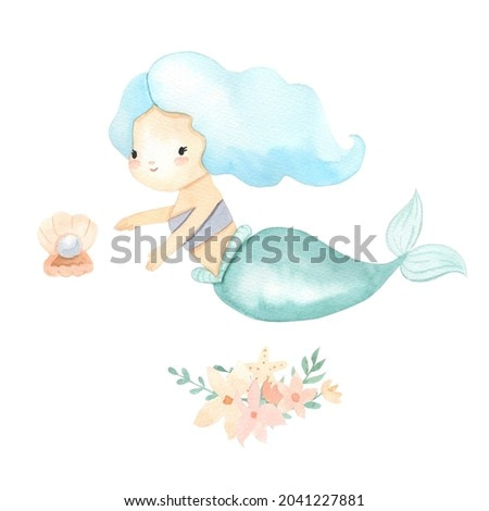Mermaid with blue hair. Watercolor illustrations for girl. Little underwater princess