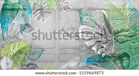 Tropical leaves on concrete background. Great choise for wallpaper and photo wallpaper. Design for modern and loft interiors.