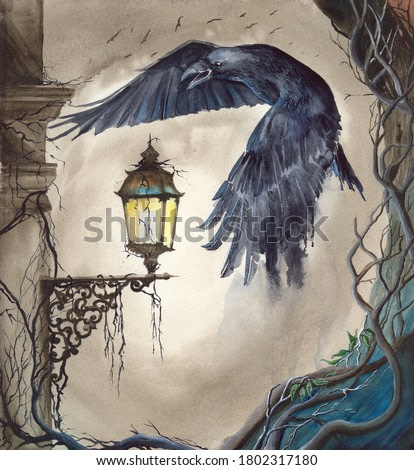 Watercolor picture of the raven flying over a lit lantern on the pillar with gnarled old tree on the background