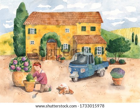 Watercolor drawing of an old yellow house with small Italian truck and a young woman planting flowers on a front yard. Tuscany or Provence landscape. Illustration of a villa in Southern Europe.