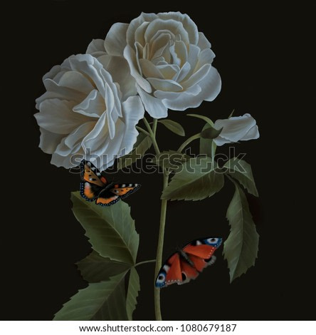 Still life oil painting with white roses and butterflies