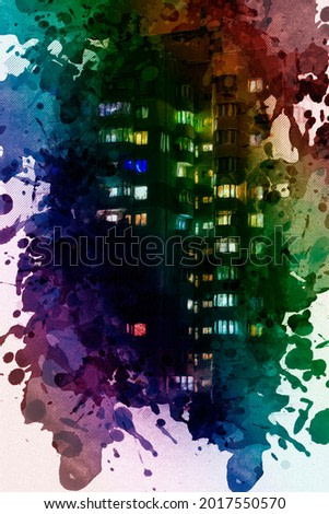 Digital watercolor painting City condo at night. Beautiful Front View of a high-rise building with apartment windows with lights on. Contemporary Art. Abstract wallpaper.