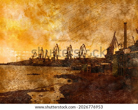 Industrial Landscape. Silhouettes of portal cranes against a brown sunset sky. Commercial docks of the seaport. Digital watercolor painting. Digital art