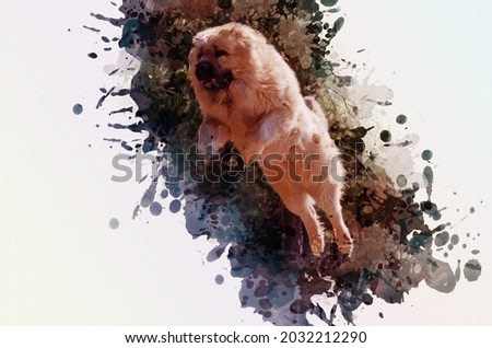 Caucasian shepherd dog overcomes an obstacle in the long jump. Huge male dog in flight over special sports equipment for pets. Digital watercolor painting. Contemporary art.