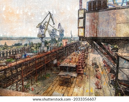 Shipyard with powerful cranes. Shipbuilding and ship repair of water transport. Industry. Digital watercolor painting. Modern art.