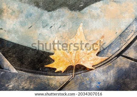 Yellow leaf on car windshield. Wet leaf lies on a parked car. Autumn time. Digital watercolor painting