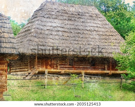 Old wooden house in the woods under a thatched roof. The dwelling of European peasants of the last century. Rustic lifestyle. Digital watercolor painting. Modern Art
