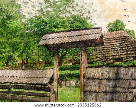 Old wooden fence of a rural dwelling. The fence and entrance are covered with wooden planks. Ancient Rustic lifestyle.  Digital watercolor painting. Contemporary Art