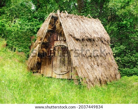A small wooden hut under a sloping thatched roof. An old rustic dwelling in a green forest. Tourism, travel. Digital watercolor painting.