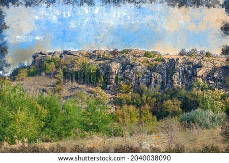 A rocky ridge against the blue sky. The top of the canyon with trees and shrubs. Hiking, traveling. Digital watercolor painting